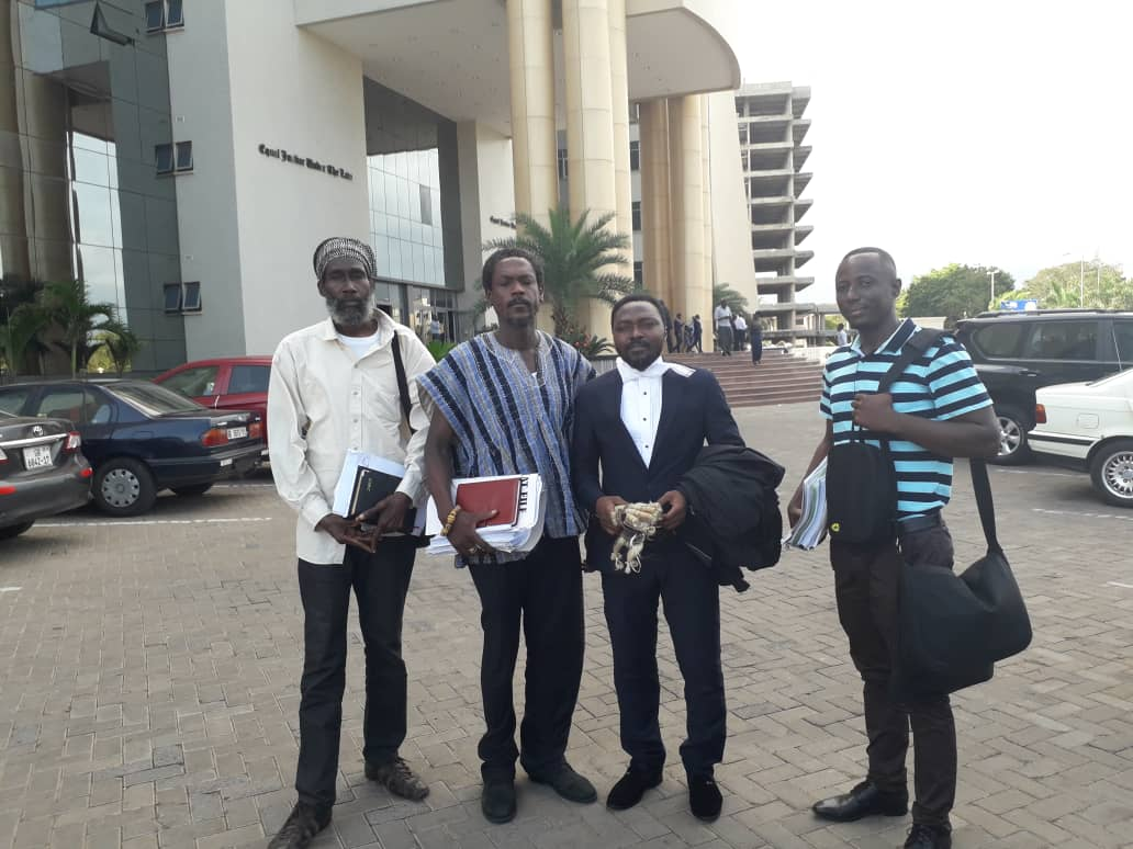 From Left to Right: Messrs Raswad Nkrabea, Edwin Bafour Andoh, of FSG with our lawyer, Mr. George Tetteh Wayoe, and Mr. Solomon Prana from the Vegetarian Association of Ghana.