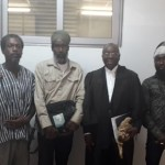 Lawyer Bright Akwetey, second from right, flanked by some of the Executive Members of FSG, (from left to right) Messrs. Edwin Baffour, Raswad Nkrabea, and Ras Zewu, at the foregrounds of the Accra Human Rights Court.