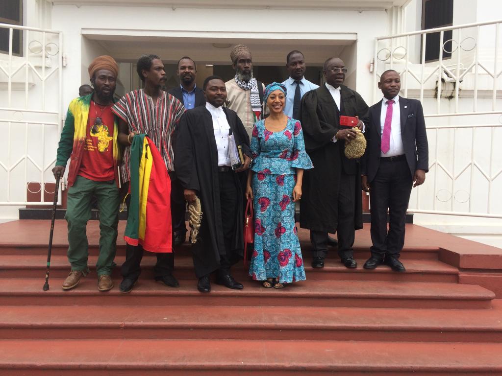 Front row L-R Ras Zewu, Edwin Baffour, George Tetteh Wayoe, Samia Yaba Nkrumah, Bright Awketey. Back row L-R Pascal Kudiabor (PFAG), Ras Aswad, Jonathan Welberg(Assistant to Bright)